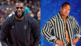 LeBron James Catches a 'Hot Tub Time Machine' Version of 'The Rock' Tailing Him thumbnail