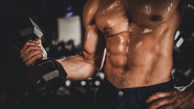 One man, shirtless man training with dumbbells thumbnail