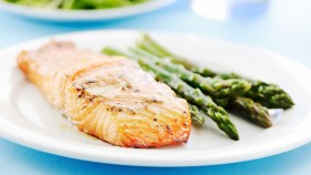 Miso Lemon Baked Salmon With Asparagus thumbnail