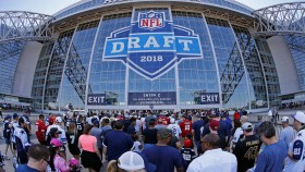 The doors open as a large crowd pours in the stadium before the second round of the NFL Draft at AT&T Stadium in Arlington, Texas, on Thursday, April 27, 2018. thumbnail