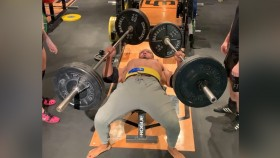 Larry Wheels Benches Two 245-Pound Barbells thumbnail