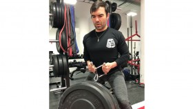 Man lifting weights in Rags of Honor t-shirt.  thumbnail