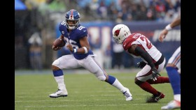 Saquon Barkley rushed for 72 yards against the Cardinals in his first game back after suffering a high-ankle sprain thumbnail