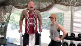 The 'Jungle Cruise' Cast Works Out With 'The Rock,' Hilariously Talks Smack thumbnail