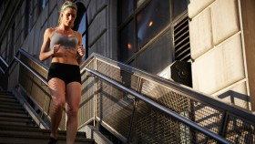 Woman Working Out Running on the Stairs Outside thumbnail