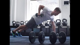 Man performs renegade row exercise thumbnail
