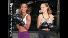 Victoria's Secret models Jasmine Tookes and Josephine Skriver learn how to 'Train Like an Angel'