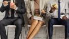 Negocios-Mujer-Entre-Negocios-Hombres-Comiendo-Almuerzo