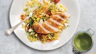 Grilled Chicken Breast with Pesto Bulgar-Wheat Salad and Crumbled Feta
