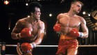 Sylvester Stallone punches Dolph Lundgren in a scene from the film 'Rocky IV', 1985