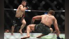 Khabib Nurmagomedov of Russia (L) chases down Conor McGregor of Ireland in their UFC lightweight championship bout during the UFC 229 event.