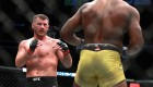 Stipe Miocic fights Francis Ngannou in their Heavyweight Championship fight during UFC 220 at TD Garden on January 20, 2018 in Boston, Massachusetts.
