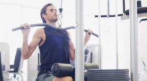 Skinny man working out at gym thumbnail