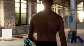 Topless-Male-Back-Facing-Empty-Gym thumbnail