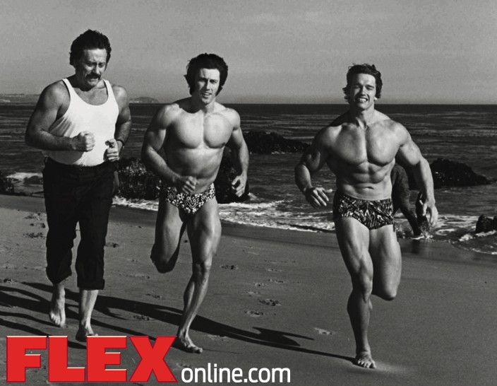 Arnold schwarzenegger answers your cardio questions muscle fitness from left joe weider frank zane and arnold get cardio and some california sun at the same time malvernweather Images